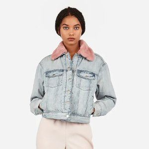 Express Denim Jacket sherpa pink fur , L
